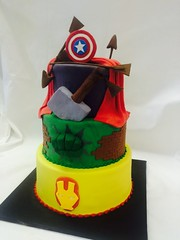 Three Tier Marvel Cake (tasteoflovebakery) Tags: birthday blue red white 3 green yellow cake hammer america three flash captain superhero arrows shield arrow superheroes hulk thor marvel tier fondant