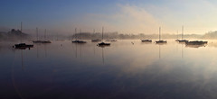 Mist (rogermarcel) Tags: sun mist sunrise river landscape boat rivière paysage brume waterscape rogermarcel