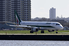 Alitalia ERJ190 ~ EI-RNB ( Freddie) Tags: london londoncityairport newham e16 lcy royaldocks eglc runway27