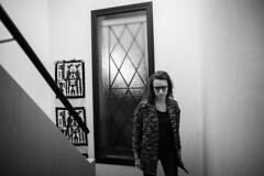 Marion Le Bert  Upstairs (Marion Le Bert) Tags: blackandwhite woman house selfportrait france window wall night stairs evening indoor fr mayenne paysdelaloire