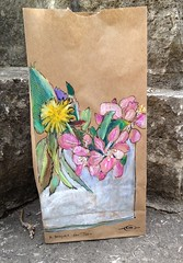 A bouquet for John (Marcia Milner-Brage) Tags: flowers stilllife ink spring mixedmedia bouquet lunchsack waxpastel arttolunch marciamilnerbrage