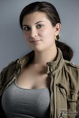 Headshot - Sabreena (FightGuy Photography) Tags: beautiful blueeyes longhair headshot jacket actress tanktop brunette stunt sabreena studiophotography stuntwoman sabreenacandreva