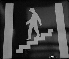 The cautious gentleman (La_Marghe) Tags: blackandwhite sign stairs canon germany bochum yabbadabbadoo eos500d