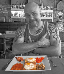 Beans, egg, toast, bacon, mushrooms and tomatoes. (CWhatPhotos) Tags: pictures camera morning people food man color colour male colors tattoo breakfast digital ink turkey that mushrooms photography bacon cafe beans colours foto arm image artistic pics toast tomatoes egg picture pic olympus images tribal tattoos have upper eat photographs photograph fotos vest potrait which turkish contain select marmaris partial selective inked tatt tatts onthe tattooed em10 cwhatphotos