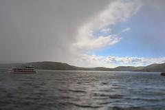 through the rain (Limfjordsporter & Shrimps) Tags: blue sky sun lake nature water rain clouds germany deutschland boot see boat forrest hiking natur himmel cruiseship sonne wald schiff wandern regen blauer waldeck edersee
