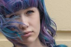 Anja - sea hair (nacfoto photography) Tags: blue portrait girl face hair eyes curlyhair bluehair schwarzkopf hairfashion