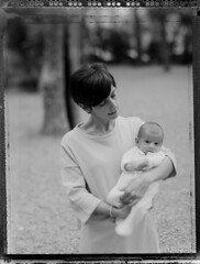 A nice sweet hug, in the park. (Papayaspoint) Tags: park city family portrait blackandwhite woman baby spring newborn wife largeformat polroid childrendaughter