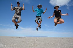 Levitation over the Salt Flats (BLMUtah) Tags: party lake west film field grass youth movie outdoors skull utah office education media desert mud hiking go salt scenic peak social historic adventure explore flats trail national valley pro hastings campaign filming interns learn pilot cheat internship blm donner cutoff bureauoflandmanagement hastingscutoff