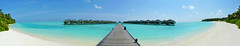 Panorama Waterbungalows in Sun Island (Maldives) (petikova) Tags: ocean blue sea panorama green beach landscape outdoor turquoise palm maldives bungalow holyday