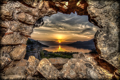 Sunset view from the 4-3 BC fortress (Vagelis Pikoulas) Tags: sunset sea sun castle rock stone canon landscape rocks europe tokina porto fortress 6d germeno 1628mm
