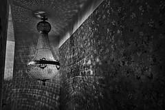 C'est dans le noir que brille la lumire... It is in the black than shines light... #Darktable #FujiX-S1 (ImAges ImprObables) Tags: blackandwhite bw fleur restaurant noiretblanc nb commune escalier luminaire drme traitement rhnealpes kalidoscope sao loiseausursabranche darktable fujixs1