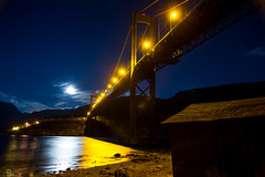 Rombaksbrua and the Moon (Jan-Roger Olsen) Tags: longexposure bridge oktober moon water norway night dark stars norge outdoor no moonlight natt vann narvik bru mne 2014 nordland stjerner rombaksbrua 2014october