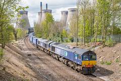 DRS 66301 leads a diverted Tesco's intermodal past Ferrybridge (Richard Croft136) Tags: bridge tesco double 66 class tescos headed brotherton drs