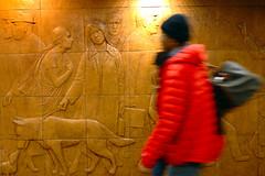 walk (Ian Muttoo) Tags: sculpture toronto ontario canada station underground subway mural ttc tube gimp motionblur dundas crosssection dundasstation torontotransitcommission ufraw williammcelcheran dsc52251edit