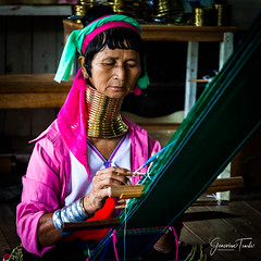 Karen Long Necks, Inle Lake, Myanmar / Burma (July 2015) (Cor Lems) Tags: 2015 asia burma east eastern escape gold inle july karen lake long myanmar neck necks travel trip village weaving women