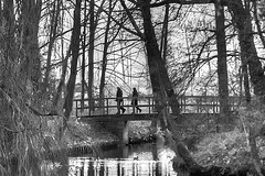Fredrik Nael — 'It takes both sides to build a bridge.' (genevieve van doren) Tags: park bridge trees bw reflection castle water couple eau nb arbres pont chateau flanders reverberation oostvlaanderen beverenwaas