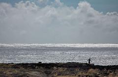 Fishing at the Shining Sea (San Francisco Gal) Tags: ocean sky cloud hawaii lava fisherman pacific southpoint kalae southcape