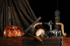 Still Life with Ham and Mercury II (Studio d'Xavier) Tags: camera stilllife ham handlebars nautilus mercuryii strobist