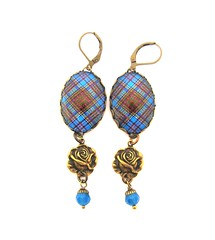Ancient Romance Series - Scottish Tartans Collection - Anderson Clan Tartan Rose Charm Earrings with Carribbean Blue Swarovski Crystal Beads