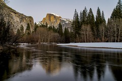 Half Dome (J. Weed) Tags: trees snow reflection water landscape nikon yosemite dome half