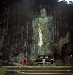 Buduruwagala- central Buddha (spcycuttlefish) Tags: vacation analog buddha srilanka pali buduruwagala standingbuddha mahayana theravada epsonscan bramin ektar100 buduruvagala srilankaonfilm