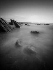 Another Year Gone (Timothy Gilbert) Tags: longexposure blackandwhite sunrise rocks cornwall boulders looe ndfilter 10stop hannafore olympus918mmf4056