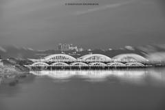 Napier Bridge, Chennai in Double Exposure (Saravanan Ekambaram) Tags: india white black beach marina landscape cityscape madras blacknwhite chennai napier bnw tamilnadu waterscape napierbridge