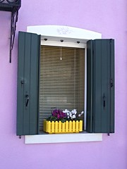 Burano, nr Venice (Lydie's) Tags: italy colour yellow stencil lilac shutters blinds windowbox burano