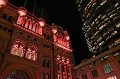 Queen Victoria Building (Markus Jaaske) Tags: lighting windows light holiday building architecture night mall dark outdoors lights evening exterior skyscrapers time famous sydney victorian illumination officebuilding australia shoppingcentre landmark victoria architectural illuminated historic queen lit qvb offices attraction queenvictoriabuilding lighted destinations