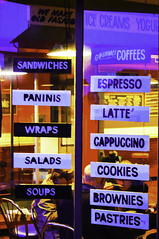 Tasty Options (joegeraci364) Tags: food color art window coffee sign print restaurant photo cafe image advertisement business storefront signage choice sandwiches eatery topazlabs