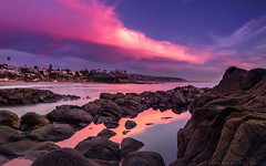 Purple it is! (mnlphotography) Tags: ocean sunset seascape beach clouds reflections landscape coast orangecounty oc goldenhour lagunabeach