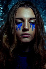 (sarah the friendly ghost) Tags: blue portrait woman colors girl face hair eyes pretty tears sad crying teen