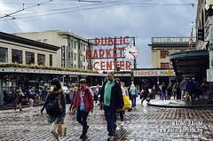 Pike Place Market, Seattle (Naomi Rahim (thanks for 2 million hits)) Tags: seattle street city travel people usa wet rain sign america washington nikon neon market streetphotography roadtrip historic wa pikeplacemarket pikeplace 2015 travelphotography nikond7000