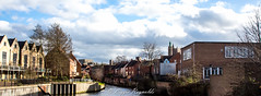 Norwich (lizzieisdizzy) Tags: city trees homes sky castle clock clouds river industrial cityhall spires churches wensum