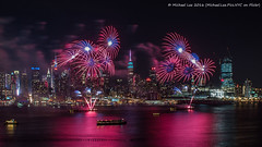 Lunar New Year Fireworks (P2060110) (Michael.Lee.Pics.NYC) Tags: longexposure newyork night newjersey cityscape fireworks olympus chinesenewyear hudsonriver lunarnewyear mkii weehawken markii yearofthemonkey midtownmanhattan hamiltonpark em5 voitgtlandernokton175mm