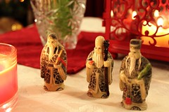 Netsuke, Taoist sages (Olga Hinchcliffe) Tags: red tulips tangerines books newyear christmastree christmaslights vase teaset netsuke cristmasdecorations chineeselatern