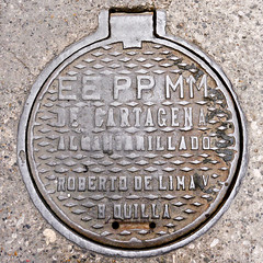 photo - Manhole Cover, Old Town Cartagena (Jassy-50) Tags: photo colombia squareformat manhole oldtown cartagena manholecover cityname oldtowncartagena