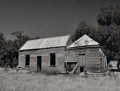 Another Time, Another World (HOLLY HOP) Tags: bw abandoned monochrome farmhouse wooden decay farm empty dry australia bluesky victoria historic emu logan derelict hmm ruraldecay drygrass centralvictoria monochromemonday loganrd