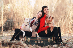 Puppy Love (Kelly McCarthy Photography) Tags: family autumn portrait woman dog man fall love dogs smile animal outdoors couple bokeh smiles canine romance portraiture trunk romantic animalplanet canines catchycolorsred bokehwhores