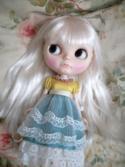 Adorable Floss........ (simplychictiques) Tags: adorable pastels pout blythe grumpy floss shabbychic customblythedoll jodiedollscustom ooakblythedoll airbrushfaceup cossettedress frecklesandpout