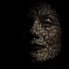 Tattoo III (DEWEGGIS) Tags: light shadow woman detail texture motif tattoo paper poetry pattern veil mask haiku pentax lace sombra ombre cutting  ricoh dentelle profil intrieur claroscuro japanesepaper pochoir clairobscur erotism  texte  dropshadow feminity encaje  trame contraluce ombreporte