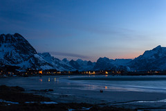 (jean matthieu) Tags: bridge blue trees light red sky bw cloud sun white fish snow lightpainting black color tree green art ice beach water yellow norway stone night clouds canon landscape photography eos islands see photo twilight europe ship north reflect fjord lofoten crepuscule fjords nord montains norvege aurore nordlys rorbuer skrei northernlightsboat