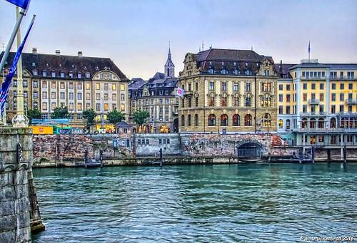 Les Trois Rois and Schifflände from Alstadt Klein, Basel Switzerland