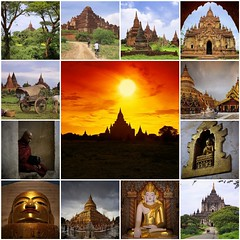 Bagan - a magical place in Myanmar (Bn) Tags: world travel sunset sky orange sun holiday travelling beautiful bicycle yellow collage fairytale century season fire pagoda fdsflickrtoys topf50 quiet mosaic burma buddhist capital religion silhouettes peaceful buddhism visit shades tourist best collection kings rainy empire temples backdrop dreamy myanmar understated 9th archaeological birma sanctuary breathtaking zone attraction highlighted pagan bagan expositie grassy 849 theravada 50faves anawrahta ywahuanggyi