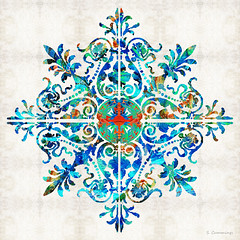 Colorful Pattern Art - Color Fusion Design 5 By Sharon Cummings (BuyAbstractArtPaintingsSharonCummings) Tags: snowflake blue red snow color green floral sign modern asian colorful aqua pattern bright lace feminine contemporary vibrant indian highcontrast flake mandala thai brightcolors elegant delicate healing primary brilliant bold chakras intricate asianart indianart blueandred healingmandala thaiart vintagepattern colorfulart sharoncummings uniquedesign colorfulpatterns chakracolors elegantpattern southeastasainart