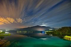 Dawn at Sun Moon Lake  (Vincent_Ting) Tags: morning sunset sky lake water clouds sunrise dawn pier taiwan galaxy   crepuscularrays  sunmoonlake                  vincentting