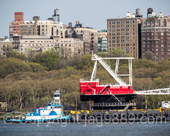 Weeks Marine Floating Crane on the Hudson River, New York City (jag9889) Tags: nyc newyorkcity usa ny newyork water river boat newjersey unitedstates crane outdoor manhattan unitedstatesofamerica nj transportation upperwestside tugboat hudsonriver tug barge edgewater waterway gardenstate uws 2016 workboat bergencounty floatingcrane 07020 zip07020 weeksmarine dannoceantowing dannmarinetowing jag9889 20160421
