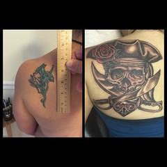 Cover-up today, 4 hours #piratetattoo #pirateskull #poochtattoo #alteredstatetattoo