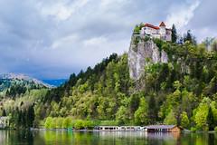 Fairy Tale Castle (E-klasse2010) Tags: blue trees lake green castle history nature clouds forest spring culture slovenia april bled slovenija heavy grad priroda blejski jezero