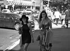Little black dress (Max Milkovitsch) Tags: street ladies friends two portrait people blackandwhite bw woman plant black max cars public smile look hat car fashion contrast digital hair bag walking photography 50mm photo eyes focus flickr crossing hand looking dress little bokeh candid sony sydney streetphotography pedestrian tags iso fave april gps moment f18 favourite newtown comments slt direct groups lbd littleblackdress 2016 a55 mirrorless staffic